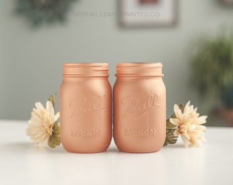 Set of 4 Copper Mason Jar Vases, Copper Wedding Decor, Copper Vases, Copper Office Decor