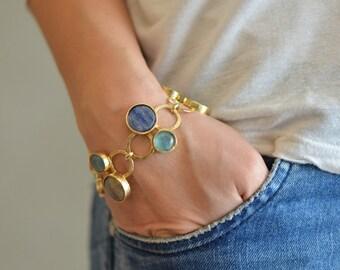 Gold Gemstone Bracelet, gold and blue bracelet, gold gemstone bracelet, gemstone bracelet, gemstone bracelet gold, statement gold bracelet