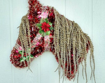 Gorgeous Red and Gold Horsehead Wreath