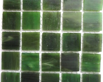 """20mm (3/4"""") Moss Green TIFFANY Stained Glass  Mosaic Tiles//Spinach//Machine Cut Tiles//Mosaic Pieces//Mosaic Supplies"""