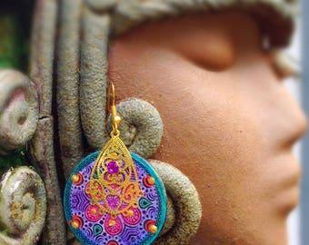 Funky Earrings quirky earrings Handpainted earrings - boho