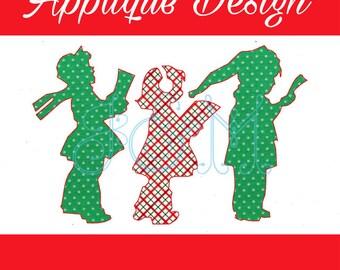 Christmas Carol Kids Silhouette Vintage Stitch Applique Machine Embroidery Design