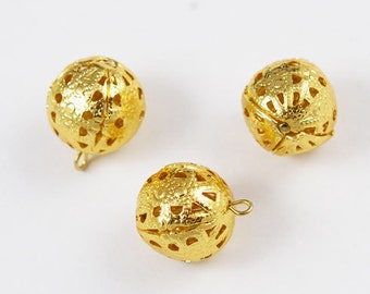 Gold Filigree Beads with Loop 20mm - 6 beads Large