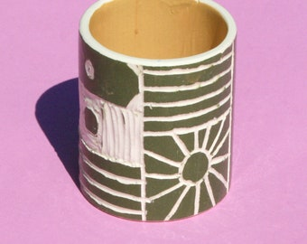 Small Illustrated Ceramic Pot