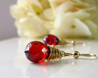 Garnet Earrings, Cubic Zirconia Earring, Dangle, Dark Red Bridesmaid Earrings, Gold, Red and Gold, Wire Wrapped, Bridal, Red Wedding