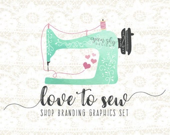 Sewing Machine Shop Branding Banners, Avatar Icons, Business Card, Logo Label + More - 13 Premade Graphics Files - LOVE TO SEW