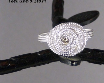 """Wirewrapped, 20ga Sterling Silver Twisted Round Wire, size 9"""" -   Hand Crafted Artisan Jewelry"""