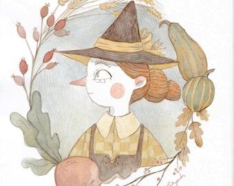 """Harvest Witch 8x10"""" print"""