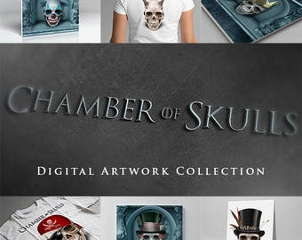 Chamber of Skulls Digital Artwork Collection for Halloween Themed Printables