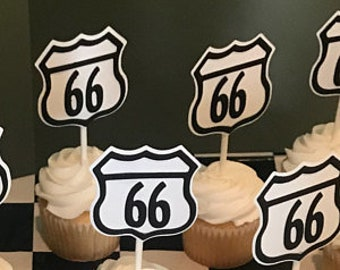 Route 66 Milestone Birthday Cupcake Toppers - Retirement 50 60 65 66 Cup Cake Toppers - Set of 6