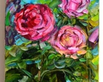 """The painting """"Roses"""" / oil on canvas, brush / 11.8-23.6 *"""