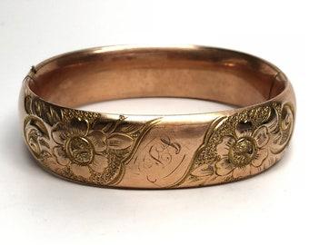 Victorian Gold Filled Bangle Bracelet, Flowers