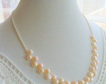 Ivory Fresh Water Pearl Necklace, Statement Necklace, Pearl Necklace, Birthday Gift, Weddings, Gemstone, Beaded Necklace