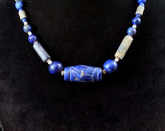 "16 or 22"" Blue Lapis Necklace. Sterling Silver, Handmade Chain. free US ship."