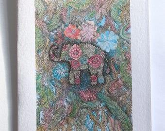 Handmade elephant greeting card. Blank card. Hand drawn card. Illustration