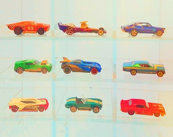 "Race Car Boys Room- race car nursery decor 11x14 bright neon nursery wall art 16x20 blue baby boy nursery 8x10 big boy room 5x7 ""Hot Wheels"""