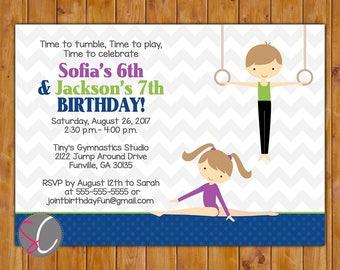 Salle de Gym gymnastique mixte Invitation fête sèche Invite 3ème 4ème 5ème 6ème garçon fille sexe neutre anniversaire 5 x 7 numérique JPG (590)