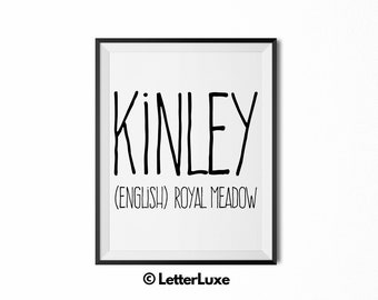 Kinley Name Meaning Art - Printable Baby Shower Gift - Nursery Printable Art - Digital Print - Nursery Decor - Typography Wall Decor