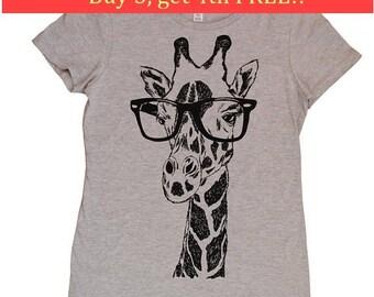 Ladies TShirt - Regular Fit Tee - Giraffe TShirt - Womens Graphic Tees - Cool Womens Tops - Trendy Printed Tshirts - Grey Tee Shirts