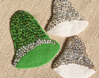 3 Vintage Felt Wedding Bells Wedding Bells with Sequins Green White
