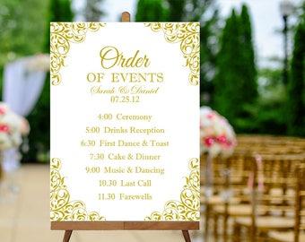 Printable Order of Events Sign, Gold Wedding Signs, Printable Wedding Day Schedule Sign, Order of Service Sign, Wedding Reception Sign PDF
