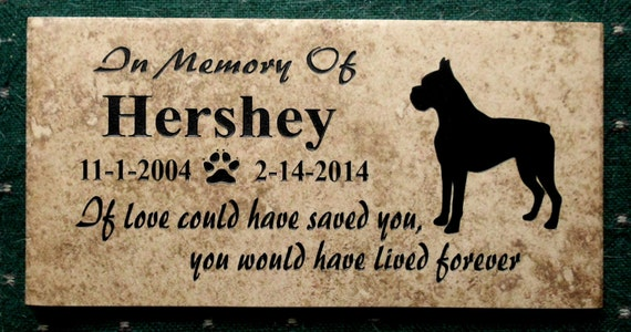 Boxer Memorial Plaque 12x6 Maintenance free . Weathered Italian Porcelain Tile -'Hershey' Design