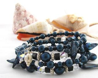 Sterling Silver  Dark Blue Pearl Memory Wire Bracelet