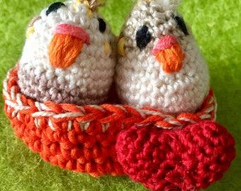 Amigurumi birds in Love in the nest/with heart Amigurumi/Amigurumi doll/Crochet Doll