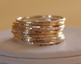 Etsy deal set of 9 14K gold filled and sterling silver skinny stack / stackable / stacking rings,  mix and match gold & silver  jewelry