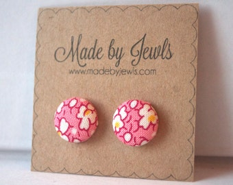 Pink Red White and Yellow Floral Handmade Fabric Covered Hypoallergenic Button Post Stud Earrings 10mm