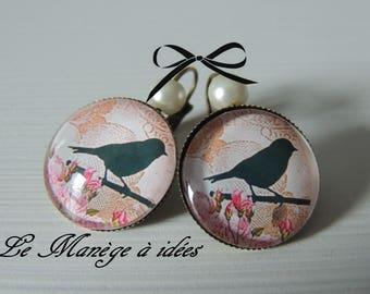 Earrings / Stud Earrings / Cabochons/bronze, bird on the branch, romantic.