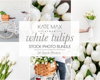 White Tulip Spring Flowers / Styled Stock Photos /24 KateMaxStock Flower Branding Images for Your Business