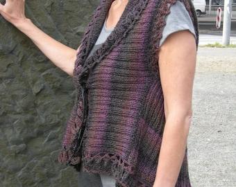 "Knitted vest, reversible vest ""trapeze""-Gr. 38-40, Fuchsia"