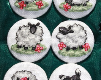 "Embroidered buttons. Buttons with embroidery ""Cheerful sheeps"". Decorative fabric covered button"