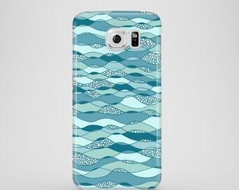 Waves phone case / Blue phone case / Samsung Galaxy S7, Samsung Galaxy S6, Samsung Galaxy S6 Edge, Samsung Galaxy S5 / blue phone case