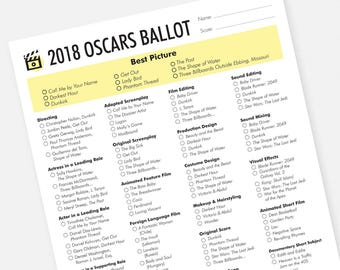 2018 Oscars Party Printable Ballot - Instant Download Academy Awards Ballot 2018