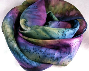Scarf, Silk Scarf, Women's scarf, Hand Painted Scarf, Mother's Day Gift, Birthday Gift, Purple Scarf - Fantasy
