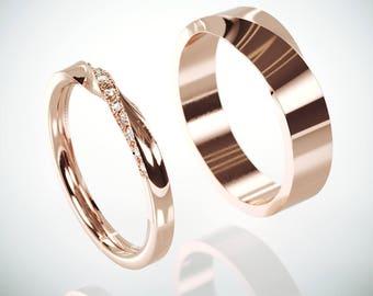 14k Rose Gold Mubius Rings Set Ladies ring set with Diamonds | His and Hers Diamonds Mobius Ring | 14k Rose Gold Mobius Wedding Bands set
