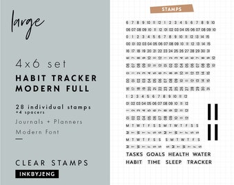 STMP-4X6-044 - Habit Tracker Modern Full | 4x6 | Planner, Journal, and Scrapbooking Clear Stamp Kit