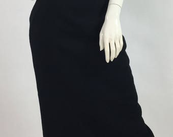 1980s Jones New York black wool skirt/80s wool midi skirt