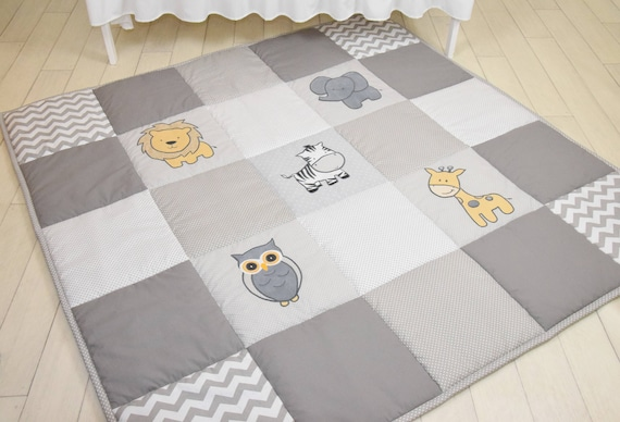 Gray Baby Play Mat, Jungle Baby Mat , Baby Activity Mat, Safari Baby Playmat, Playroom Decor