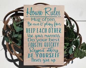 house rules sign, house rules, home rules sign, home rules wood sign, family rules, family, home,