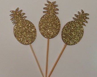 Sparkling Pineapple Cupcake Toppers