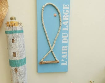 Painting with sea shore ocean - seaside - wall decor - driftwood art style decoration air