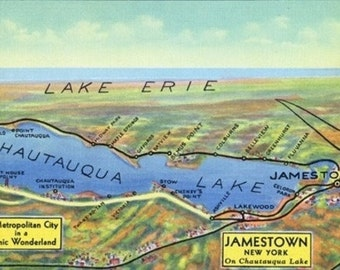 Chautauqua Lake, New York - Aerial Map of Lake and Surrounding Towns (Art Prints available in multiple sizes)
