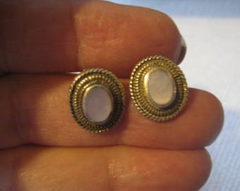 Vintage  Oval Pierced Post STERLING Earrings with  Mother of Pearl Oval Cabochons