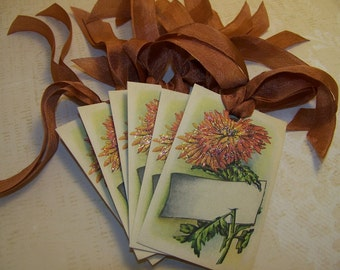 Thanksgiving Place Card Tags Autumn Place Card Tags Vintage Style Set of 6 or 9