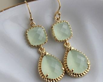 Gold Soft Mint Earrings Sea Foam Green Jewelry Teardrop Glass Two Tier - Soft Mint Bridesmaid Earrings - Gold Seafoam Green Wedding Jewelry