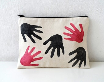 Hand Printed HANDS Zip pouch, hand stamped women fashion zipper bag - 108