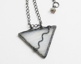 Geometric Jewelry | Eclectic Glass | Boho Jewelry | Stained Glass Pendant | White | Triangle